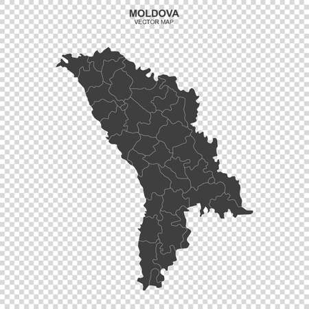 Political map of Moldova isolated on transparent background