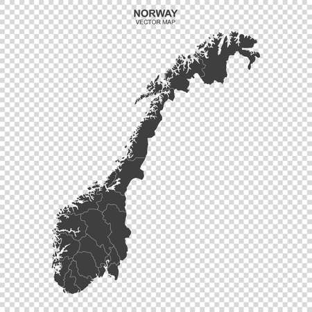 Political map of Norway isolated on transparent background