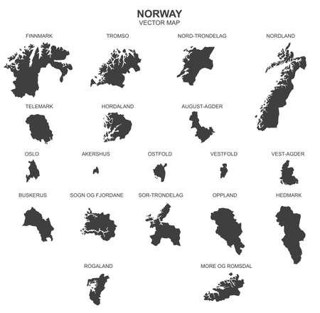 Political map of Norway isolated on white background Ilustração