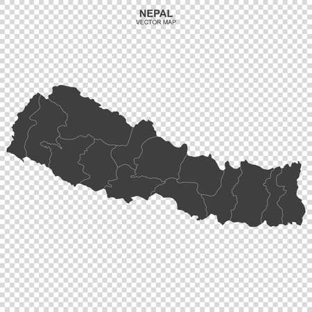 Political map of Nepal isolated on transparent background
