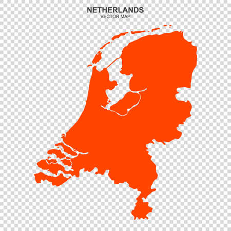 Political map of Netherlands isolated on transparent background