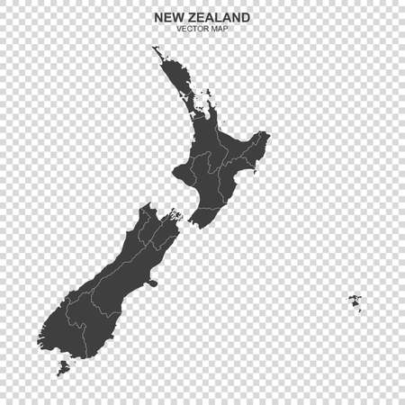 Political map of New Zealand isolated on transparent background