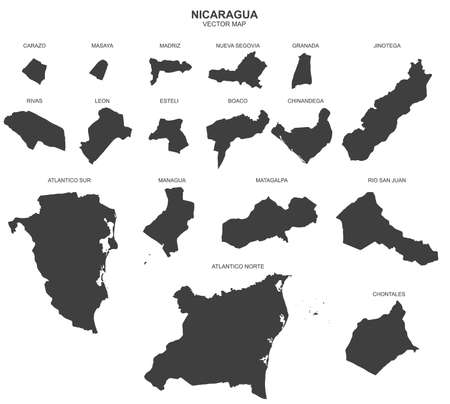 Political map of Nicaragua isolated on white background Vetores