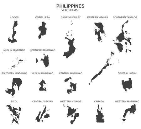 Polityczna mapa Filipin na białym tle Ilustracje wektorowe