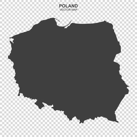 Vector map of Poland on transparent background