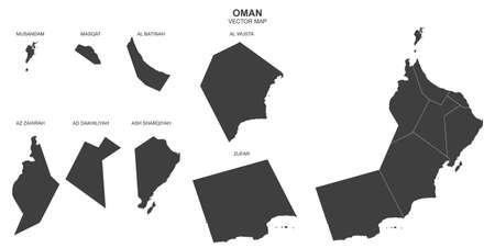 Political map of Oman isolated on white background