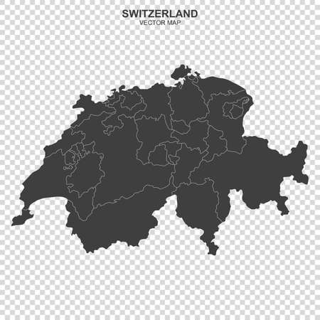 Political map of Switzerland isolated on transparent background