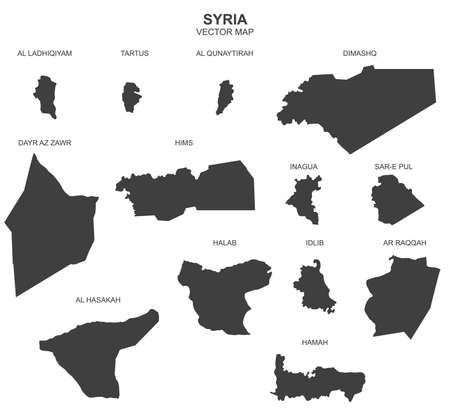 Political map of Syria isolated on white background