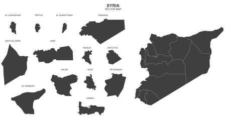 Carte politique de la Syrie isolé sur fond blanc