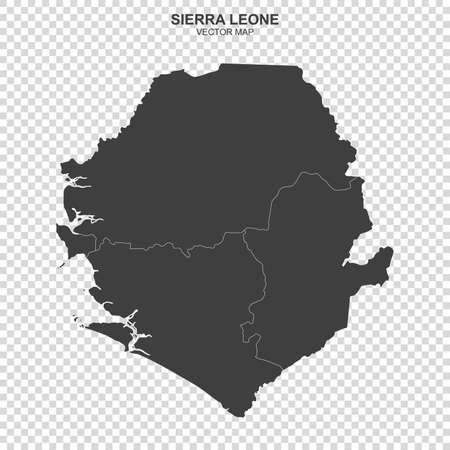 Political map of Sierra Leone isolated on transparent background