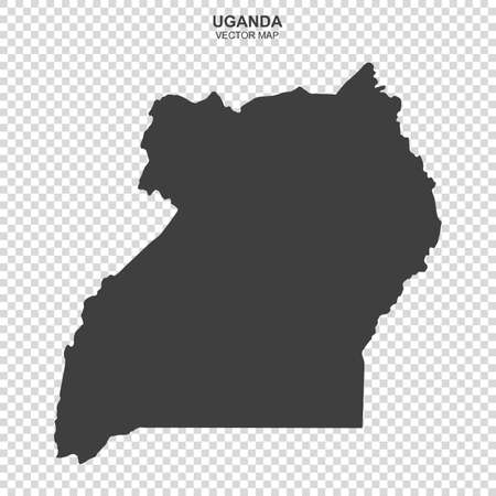 Political map of Uganda isolated on transparent background