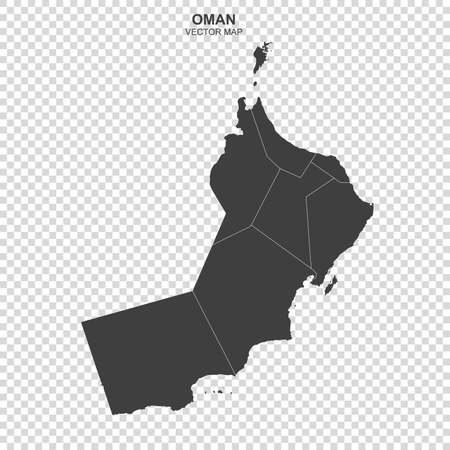 Political map of Oman isolated on transparent background