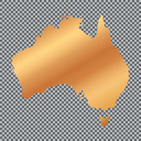 Vector gold map of australia on transparent background