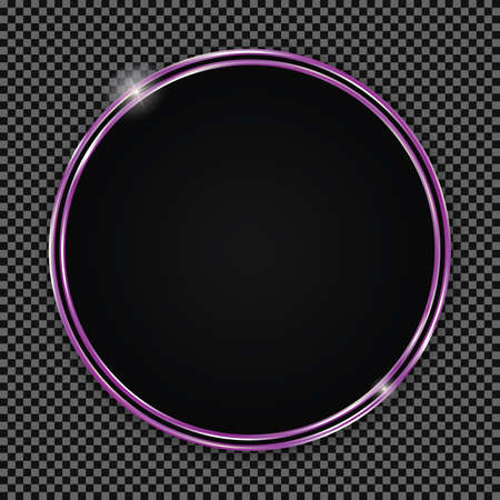 Round button with purple frame on transparent background Ilustracja