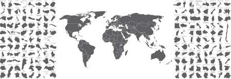 Big set of countries maps and world map with countries borders 向量圖像