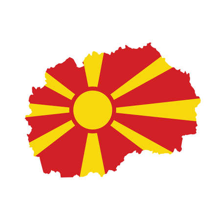 Vector map flag of North Macedonia isolated on white background Illustration