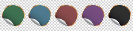 Set of colorful round sticker banner with golden frame on transparent background