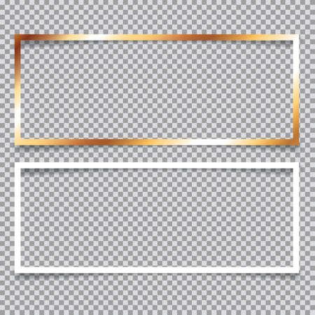 Set of golden and white banner frames on transparent background
