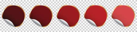 Set of red round sticker banner on transparent background