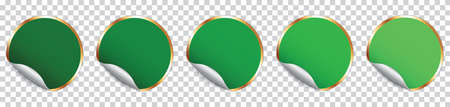 Set of green round sticker banner with golden frame on transparent background