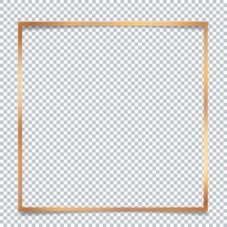 Golden banner frame on transparent background