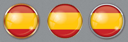 Round buttons with flag of Spain on transparent background Vettoriali