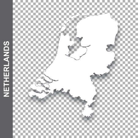 Vector design element - white map of Netherlands with shadow on transparent background