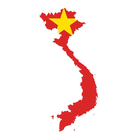 map flag of Vietnam isolated on white background