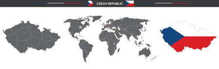 Vector map flag of Czech Republic isolated on white background