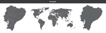 map flag of Ecuador isolated on white background