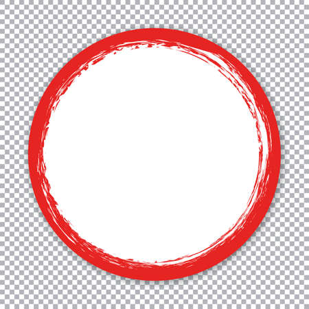 Round paper sticker banner with red brush frame on transparent background