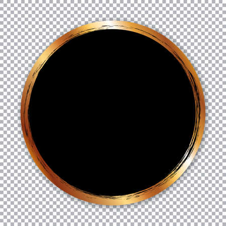 Round paper sticker banner with gold brush frame on transparent background