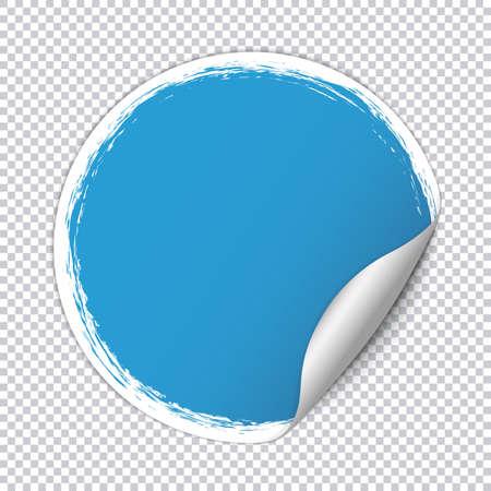 Blue round paper sticker banner with white brush frame on transparent background Illustration