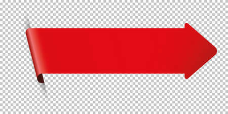 Red arrow bookmark banner for any text on transparent background Çizim