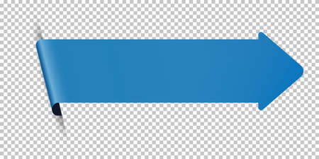 Blue arrow bookmark banner for any text on transparent background