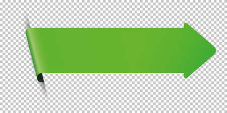Green arrow bookmark banner for any text on transparent background Çizim