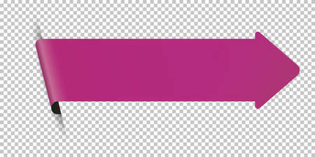 Purple arrow bookmark banner for any text on transparent background