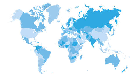 High detail blue political world map with country borders. vector illustration of earth map