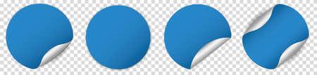 Set of blue round sticker banner on transparent background Illustration