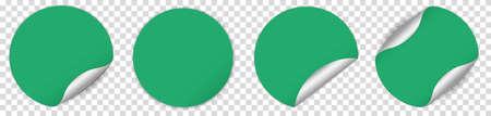 Set of green round sticker banner on transparent background