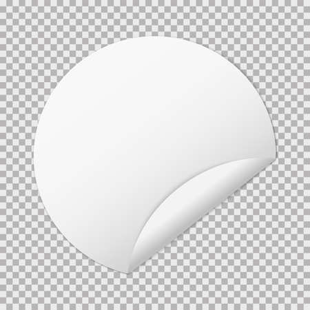 white paper round sticker banners on transparent background