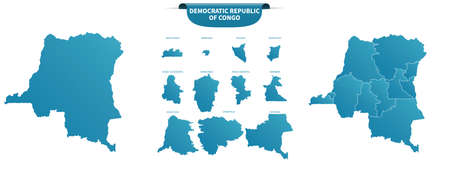 blue colored political maps of Democratic Republic of Congo isolated on white background Ilustrace