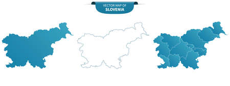 blue colored political maps of Slovenia isolated on white background