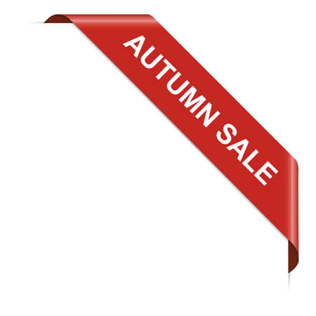 AUTUMN SALE - red corner ribbon banner on white background Vector Illustratie