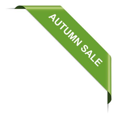 AUTUMN SALE - green corner ribbon banner on white background