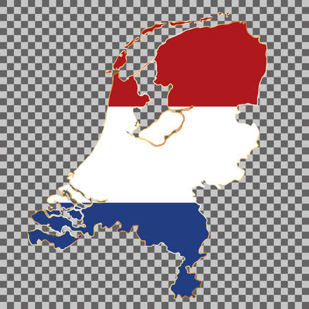 vector flag map of Netherlands with gold frame isolated on white background