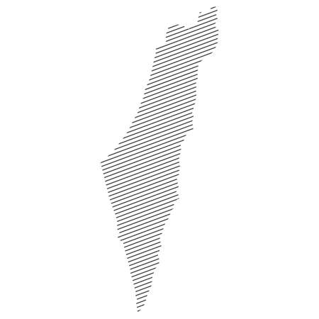 lines map of Israel isolated on white background