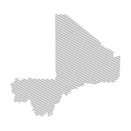 lines map of Mali isolated on white background