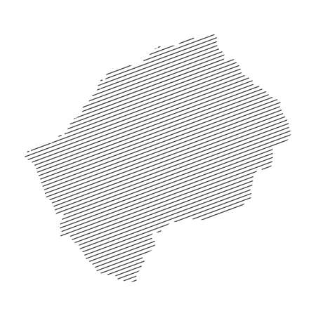 lines map of Lesotho isolated on white background