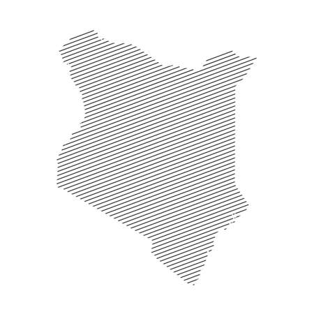 lines map of Kenya isolated on white background